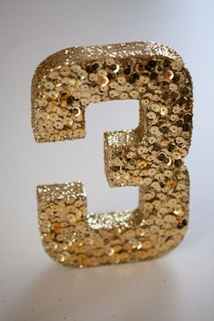 Set of 10 Sequined and Glittered Wedding Table Numbers, Gold Sequins, Gold Glitter, Numbers 1-10 Set on Etsy, $120.00