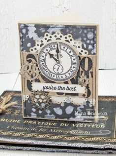 Timeless; Collage Backgrounds; Time Pieces Die-namics; Blueprints 6 Die-namics; Dainty Doily Duo Die-namics; Sentiment Strips 2 Die-namics; Gears Stencil - Mona Pendleton