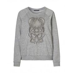 Sweatshirt, long sleeve, with embroidery and cutwork on the front side.
