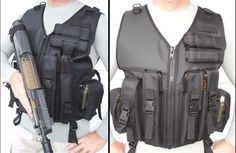 P90 Vest holds (4) P 90 Mags, 2 fives even Mags  Outside Utilities hold Ammo, Smoke Grenades...    D Rings for Slings...  Padded Recoil Non Slip Pad Available in Numerous Colors and Sizes  add Belt Keepers for $15.00  add inside Zipper Pockets for $20.00. All TheVestGuy.com products are made to order so each can be modified to meet your specific needs. Manufactured in the USA, backed by a workmanship lifetime warranty. The Vest Guy, the nation's leader for quality vests.