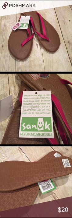 SANUK flipflops NWT size 8 hot pink SANUK hot pink flip flops size 8 NWT. This is like wearing yoga mats on your feet!!! So comfortable sanduk Shoes Sandals
