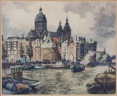 Hendrikus Elias Roodenburg (1895-1987) : 'Amsterdam'. Kleurenets