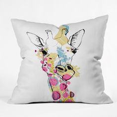 Casey Rogers Giraffe Color Throw Pillow | DENY Designs Home Accessories LOVE