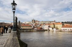 View of the Prague Castle from Charles Bridge in Prague.
