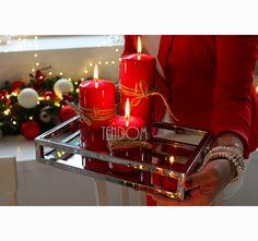 komplet świec czerwonych 3 szt www.tendom.pl