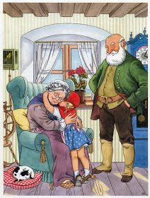 Soloillustratori: Anny Hoffmann ed Elizabeth Dirr Little Red Ridding Hood, Red Riding Hood, Illustration Noel, Fable, Vintage Fairies, Wolf, Vintage Postcards, Fantasy, Childhood Memories
