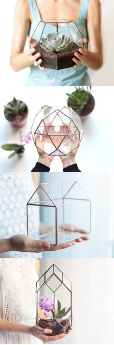 Istanbul-based Etsy shop Waen crafts geometric glassware that adds a modern touch to a conventional planter.