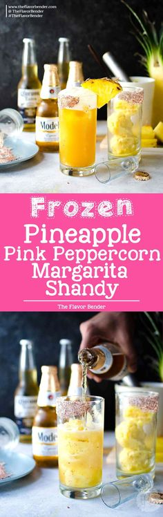 [msg 4 21+] Frozen Pink Peppercorn Pineapple Margarita Shandy - The ULTIMATE summer cocktail, perfect for Cinco de Mayo! Pineapple and Pink Peppercorn sorbet with tequila and Modelo. A delicious twist on a Beer cocktail. via @theflavorbender #CervezaCelebration [ad]