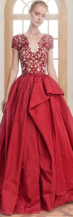 Reem Acra ~ Resort Red Embroidered Gown 2016
