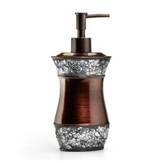 Give your guest or master bath a fresh look with the stylish Elite Lotion Dispenser from Popular Bath. The sophisticated resin piece features a copper and crushed silver color palette, perfect for enhancing any space with chic, timeless charm.