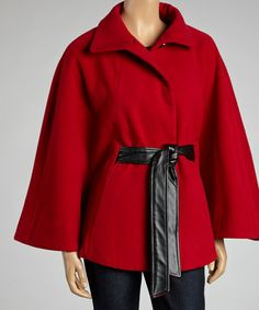 Take a look at this Red Belted Cape - Women by Weather Tamer on #zulily today!