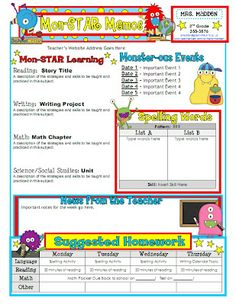 classroom weekly newsletter template | Newsletter Linky Party ...