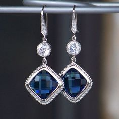 Faceted Sapphire Blue Crystal and Silver Dangle by CJRoseBoutique, $42.00