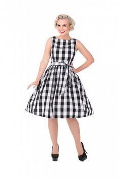 Lindy Bop Audrey Black Check Dress - Gwynnie's Emporium