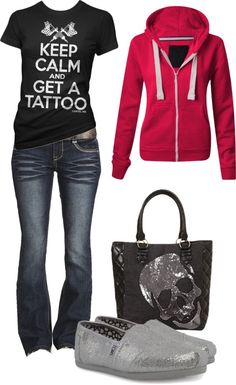 Women's outfits. Women's fashion. Women's clothes. Spring. Fall. Skull. Rock. Tattoo. Hoodie.