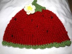 strawberry hat by mylittlebows on Etsy, $12.00