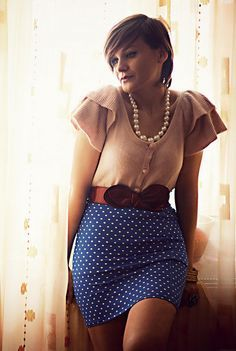 Blue Skirt With White Polka Dots Wide Belt and Pink Blouse