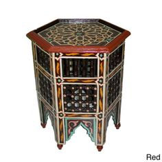 Handpainted Arabesque Red Moroccan Star Wooden End Table (Morocco)