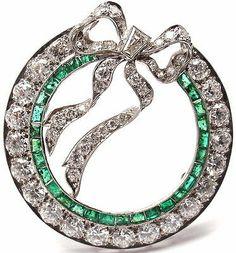 RARE Art Deco Authentic Tiffany Co Platinum Diamond Emerald Bow Pin Brooch | eBay - $13,500