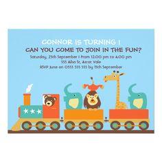 Boy's 1st Animal train Birthday Party Invitation