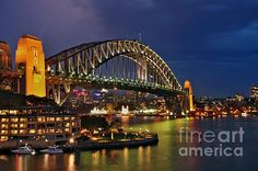 SYDNEY HARBOUR BRIDGE BY #NIGHT - #Harbour #Bridge   Prints/Cards available at:  http://kaye-menner.artistwebsites.com/featured/sydney-harbour-bridge-by-night-kaye-menner.html  -