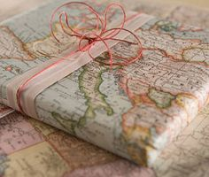 Vintage Inspired Map Wrapping