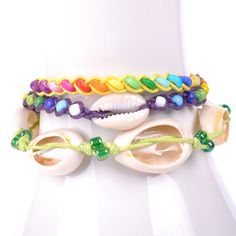 Thai-handicraft Multicolored Wood and Sea Shells Wax Cord Bracelets