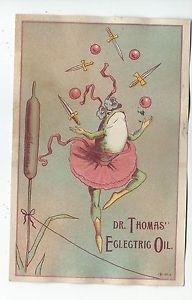 Advertising Trade Card Dr Thomas Eclectric Oil Frog Juggling ...