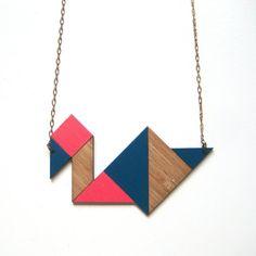 Tangram necklace / bird / navy & neon pink