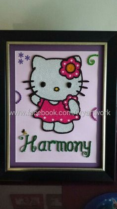Paper quilled Hello Kitty! $60+shipping, 10x13