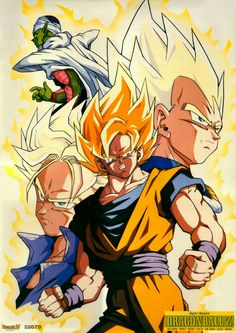 Goku, Vegeta, Trunks, and Piccolo