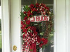 Go Bucks Wreath OSU Wreath Ohio State Wreath by KathysWreathShop