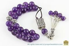 Amethyst Worry Beads  Amethyst increases brain power by absorbing the excess amount of electrical charge. It is believed that amethyst gemstone is good for allergy, headache, eye and hearth diseases.  It clears up the negative energies, has a sedative affect. It is also good for people with insomnia problems.
