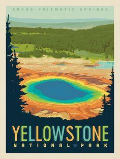 Grand Prismatic of Yellowstone National Park Print American National Parks, National Parks Map, Yellowstone Nationalpark, Visit Yellowstone, Collage Des Photos, Park Art, Hand Illustration, Carlsbad Caverns National Park, Vintage Travel Posters