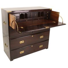 Antique English Desk Campaign Chest of Drawers For Sale Folding Furniture, Woodworking Furniture, Unique Furniture, Furniture Design, Furniture Storage, Rustic Furniture, Luxury Furniture, Office Furniture, Woodworking Projects