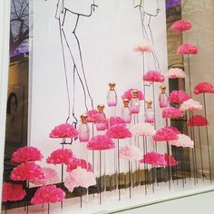 """France, """"Launch of Annick Goutal's new Rose Pompom fragrance in a field of pink roses"""", photo by Adeline Cabale, pinned by Ton van der Veer Spring Window Display, Window Display Design, Store Window Displays, Box Roses, Pink Roses, Pink Flowers, Vitrine Design, Decoration Vitrine, Deco Floral"""
