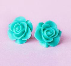 Aquamarine Resin Rose Earrings