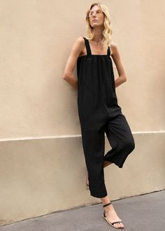 Thick Strap Puckered Jumpsuit in Black – The Frankie Shop Drop Crotch, Life Inspiration, Fashion Inspiration, Minimalist Fashion, Minimalist Style, Straight Cut, Chiffon Fabric, Normcore, Jumpsuit