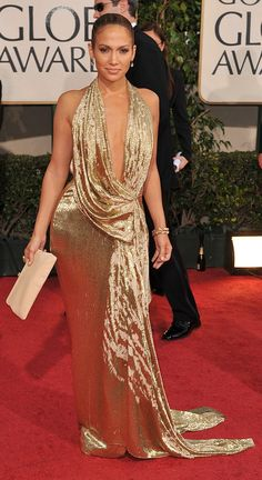 Jennifer Lopez went glam in a gold Marchesa on the Golden Globes red carpet in '09.