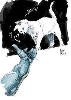 """Also, Bucky gets a cat Marvel Fan Art, Marvel Avengers, Marvel Comics, Avengers Memes, Marvel Memes, Avengers Imagines, Sebastian Stan, James Barnes, Nailart"