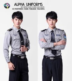 Alpha Uniforms deals in security uniforms. Pant shirt for the security guard, Kameez Shalwar for security provide, and Jackets for security officers in different fabric & designs. Feel free to contact us regarding security uniform. Security Uniforms, Police Uniforms, Hotel Uniform, Men In Uniform, Security Training, Security Guard, Best Uniforms, Airline Cabin Crew, Restaurant Uniforms