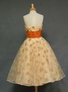 Fred Perlberg Embroidered Tulle 1950's Cocktail Dress VINTAGEOUS VINTAGE CLOTHING