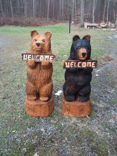 Chainsaw Carved Welcome Bear by carvnstitch on Etsy, $155.00