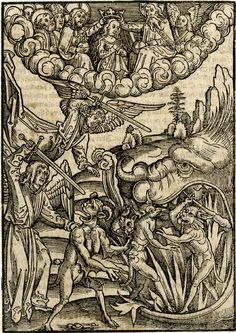 The coronation of the Virgin and two angels brandishing swords sending devils to the hell mouth; after Monogrammist HF; used here as an illustration to Ulrich Tengler, 'Der neu Layenspiegel', Strasbourg: [Hupfuff], 1514.  1510  Woodcut