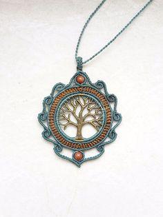 Charm- & Bettelketten - macrame makramee kette charm Lebensbaum bronze - ein Designerstück von JustbeA bei DaWanda