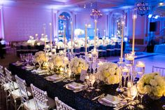 Navy Sequined Table Cloth