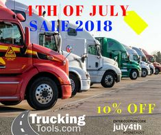 "4th of July Sale 2018 at TruckingTools.com.. get 10% off your purchase through July 10th.. enter code "" july4th "" #trucktool #trucking tools #trucktools #trailertool"