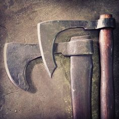 Couple of forged axes. Wrought iron bodies with forge welded 5160 tool steel tips.