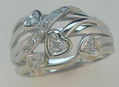 Genuine Diamond Right Hand Ring Heart Design 10kt White Or Yellow Gold Sizes 4-9