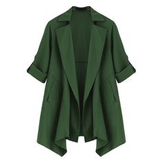 Casual Long Sleeve Lapel Solid Color Jacket For Women (120 RON) ❤ liked on Polyvore featuring outerwear, lapel jacket, pattern jacket, print jacket, long sleeve jacket and green jacket